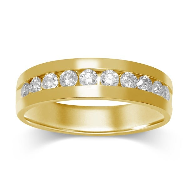 Unending Love 14k Yellow Gold Men's 1ct TDW Channel-set Diamond Wedding Band