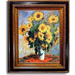 Claude Monet 'Sunflowers' Framed Canvas Art