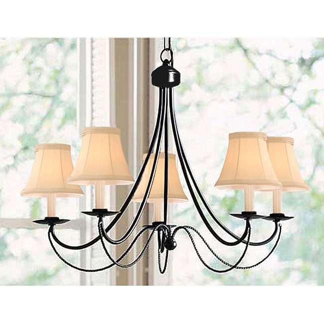 Black Iron 5-light Chandelier - Thumbnail 0