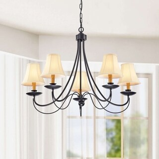 The Lighting Store Black Iron 5-light Chandelier with Yellow Shades