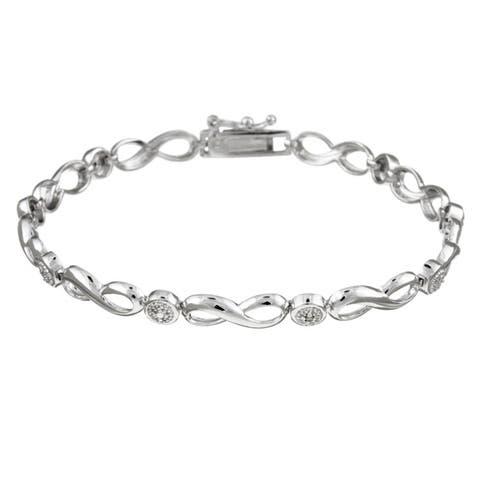 DB Designs Sterling Silver Diamond Accent Infinity Bracelet