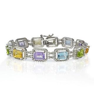 Glitzy Rocks Sterling Silver Multi-gemstone Link Bracelet