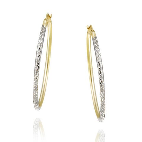 Mondevio 22k Gold over Sterling Silver Diamond-cut Hoop Earrings