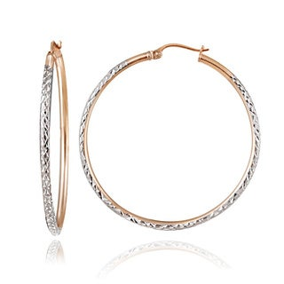 Mondevio 22k Gold over Sterling Silver Diamond-cut Hoop Earrings