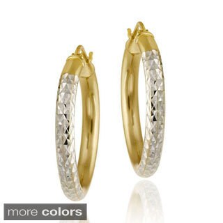 Mondevio 18k Gold/ Sterling Silver Diamond-cut Hoop Earrings
