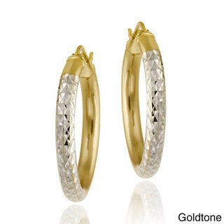 Mondevio 18k Gold/ Sterling Silver Diamond-cut Hoop Earrings