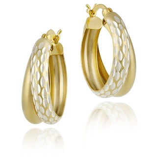 Mondevio Double Hoop Diamond-cut Earrings