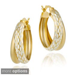 Mondevio Double Hoop Diamond-cut Earrings|https://ak1.ostkcdn.com/images/products/3437593/Mondevio-22k-Gold-Silver-Double-Hoop-Diamond-cut-Earrings-P11514835t.jpg?impolicy=medium
