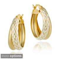 Mondevio Double Hoop Diamond-cut Earrings