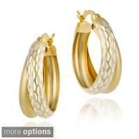 Shop Mondevio 18k Gold over Sterling Silver Oval Twist Design Hoop ...