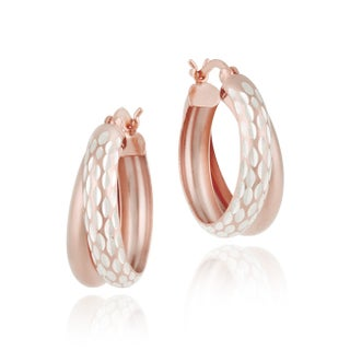 Mondevio Double Hoop Diamond-cut Earrings (Option: Red - N/A - Two-Tone)