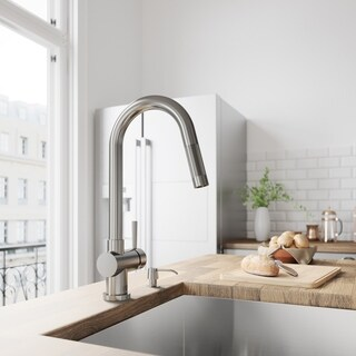 VIGO Gramercy Stainless Steel Pull-Down Kitchen Faucet