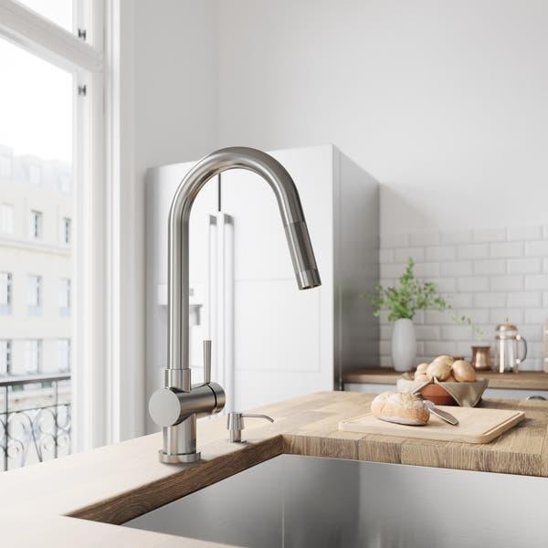 Shop VIGO Gramercy Stainless Steel Pull-Down Kitchen Faucet ...