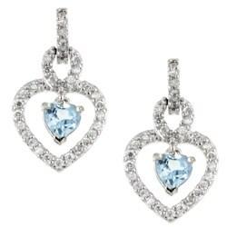 Glitzy Rocks Sterling Silver Blue Topaz and CZ Heart Earrings