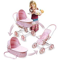 Pink Gingham Doll Toy Pram, Carrier and Stroller|https://ak1.ostkcdn.com/images/products/3437620/3/Pink-Gingham-Doll-Toy-Pram-Carrier-and-Stroller-P11514831.jpg?impolicy=medium