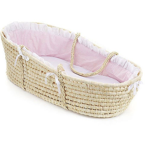 Natural Moses Basket with Pink Gingham Bedding