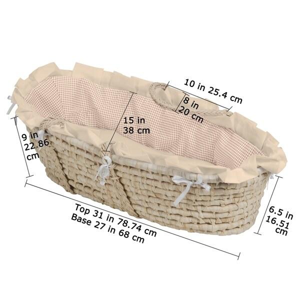 Pink Gingham Bedding Badger Basket Company Natural Baby Moses Basket with Hood