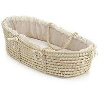 Badger Basket Natural Baby Moses Basket with Ecru Gingham Bedding