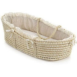 baby furniture for less. Natural Baby Moses Basket With Ecru Gingham Bedding Furniture For Less