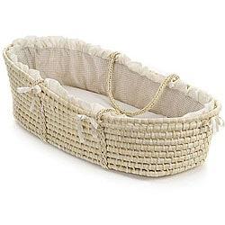 Superbe Badger Basket Natural Baby Moses Basket With Ecru Gingham Bedding