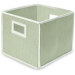 Folding Sage Gingham Storage Cubes (Pack of 3)