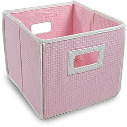 Pink Waffle Folding Storage Cubes (Set of 3)