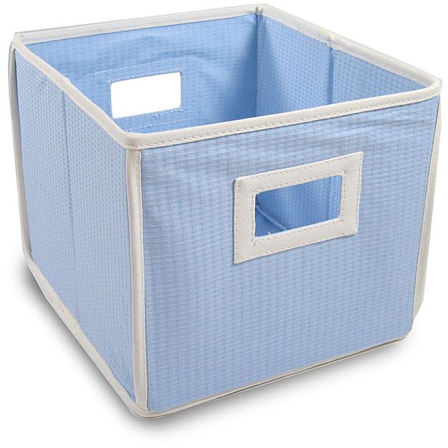 Blue Waffle Folding Nursery Storage Cubes (Pack of 3)  sc 1 st  Overstock.com & Shop Blue Waffle Folding Nursery Storage Cubes (Pack of 3) - Free ...