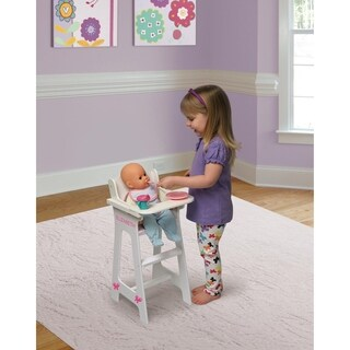 Badger Basket Gingham Doll High Chair with Plate, Bib, and Spoon - White/Pink