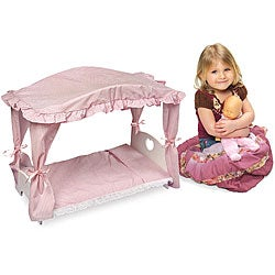 Doll Canopy Bed with Pink Gingham Bedding
