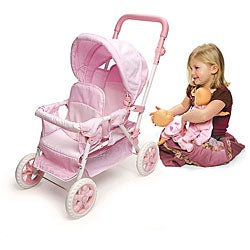Badger Basket Pink Folding Double Doll Stroller