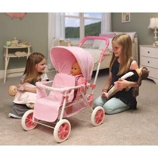 Badger Basket Folding Double Doll Front-to-Back Stroller - Pink/Gingham