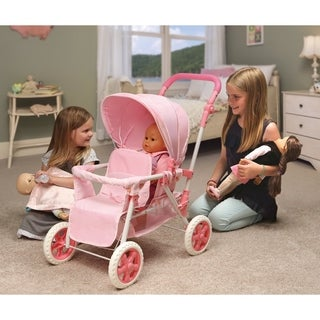 Badger Basket Folding Double Doll Front-to-Back Stroller - Pink/Gingham