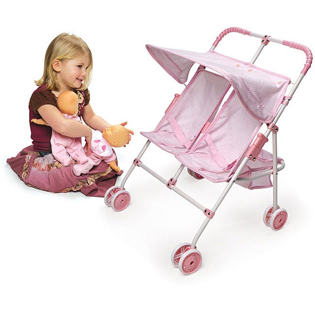 Badger Basket Double-doll Umbrella Stroller