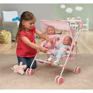 Badger Basket Folding Double Doll Umbrella Stroller - Pink/Gingham
