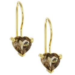 Glitzy Rocks 18k Gold/ Silver Smokey Quartz Heart-shape Earrings