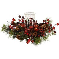Festive Candleabrum Silk Flower Arrangement