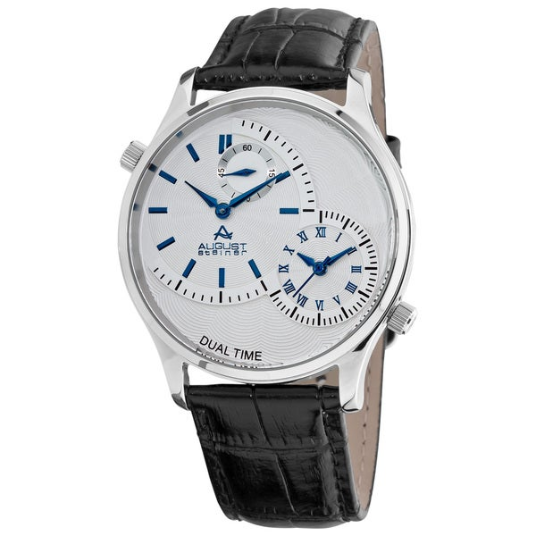 August Steiner Krysternal Crystal Dual Time Men's Blue Watch