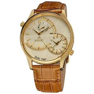 August Steiner Dual Time Men's Quartz Gold-Tone Watch