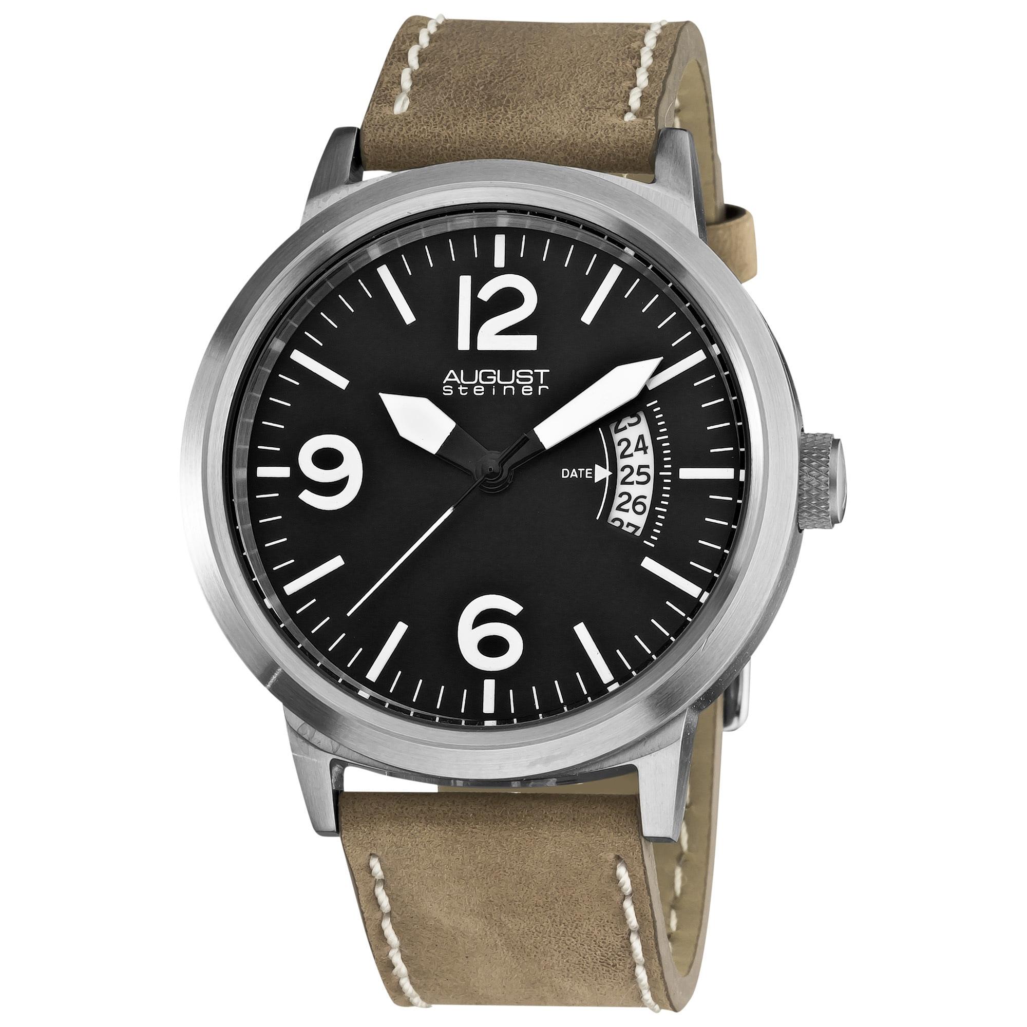 August Steiner Bright Men's Round Quartz White Watch, Bla...
