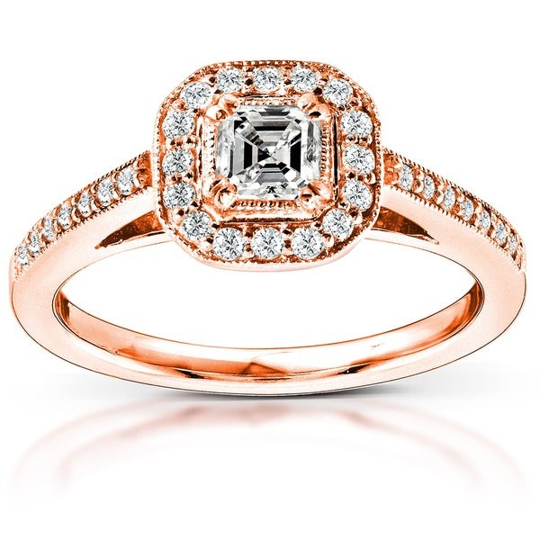 Annello by Kobelli 14k Gold 1/2ct TDW Asscher Diamond Halo Ring (H-I, SI1)