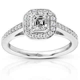 Annello by Kobelli 14k Gold 1/2ct TDW Asscher Diamond Halo Ring