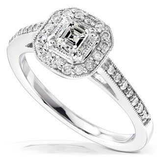 Annello by Kobelli 14k Gold 1/2ct TDW Asscher Diamond Halo Ring