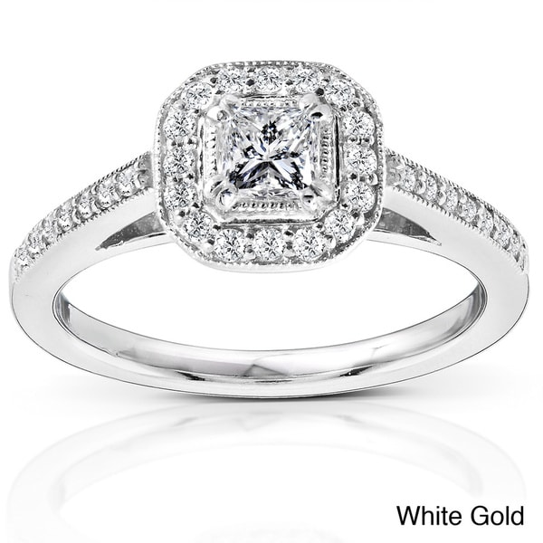 Annello 14k White Gold 1/2ct TDW Diamond Halo Engagement Ring