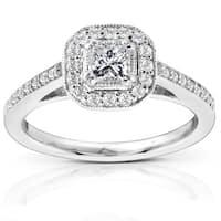 Annello 14k Gold 1/2ct TDW Diamond Halo Engagement Ring (H-I, I1)