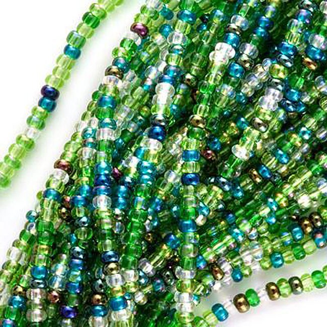 Beadaholique Czech Glass Ever Green Seed Mix Lot 11/0 Pre-strung Seed Beads