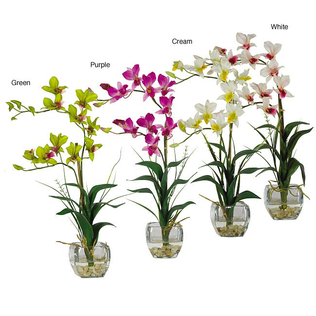 Dendrobium silk flower arrangement with glass vase free - Flower arrangements for vases ...