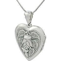 Journee Sterling Silver Heart with Rose Locket Necklace