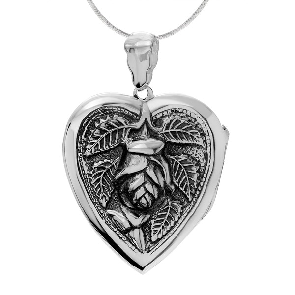 Sterling Silver Heart with Rose Locket Pendant