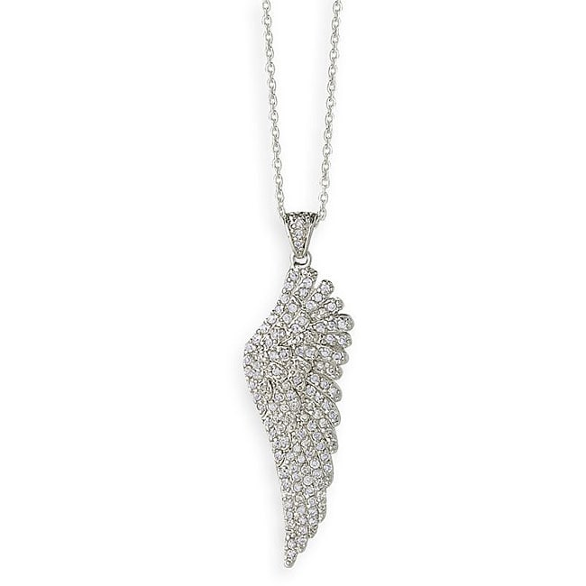 Simon Frank 14k White Gold Overlay Angel Wing Necklace
