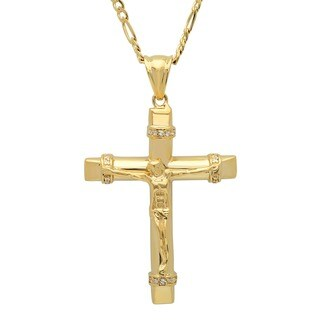 Roberto Martinez Roberto Martinez Yellow Gold Plated Silver 24-inch CZ Crucifix Necklace